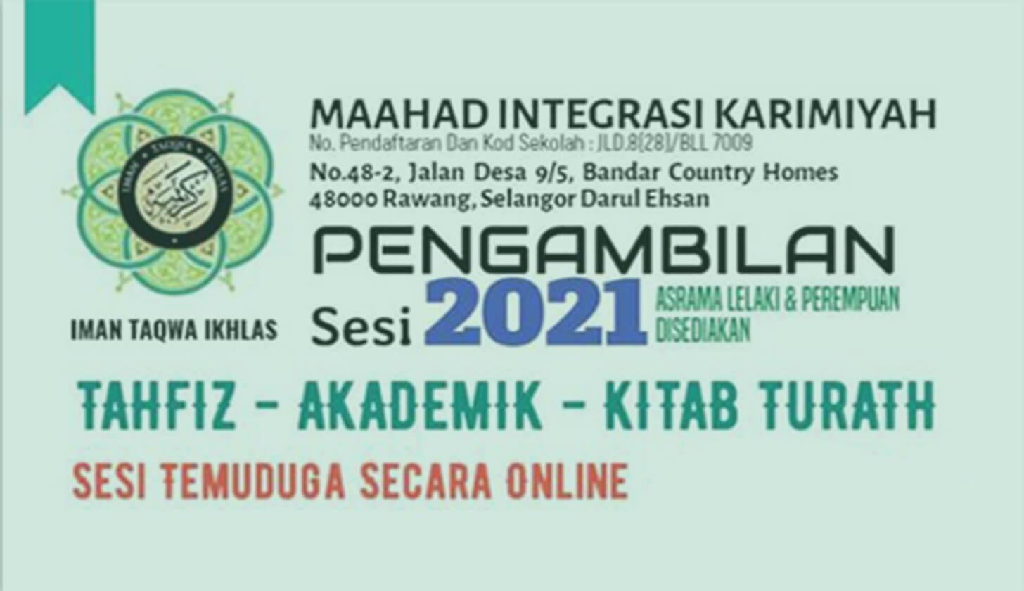 PENGAMBILAN PELAJAR BARU SESI 2021